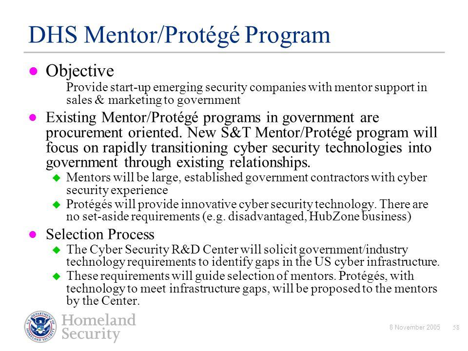 DHS Mentor/Protégé Program