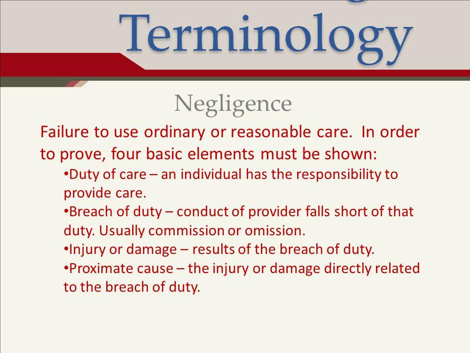 Legal Terminology Negligence