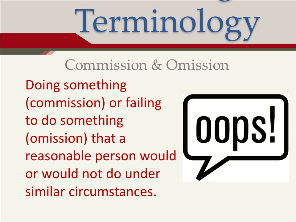 Legal Terminology Commission & Omission