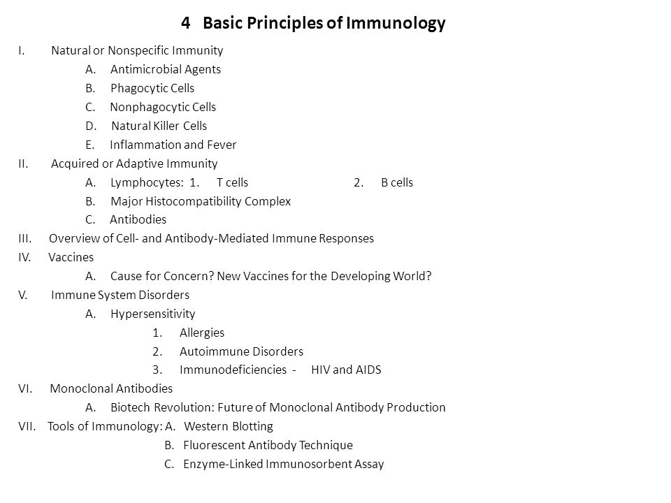 4 Basic Principles of Immunology