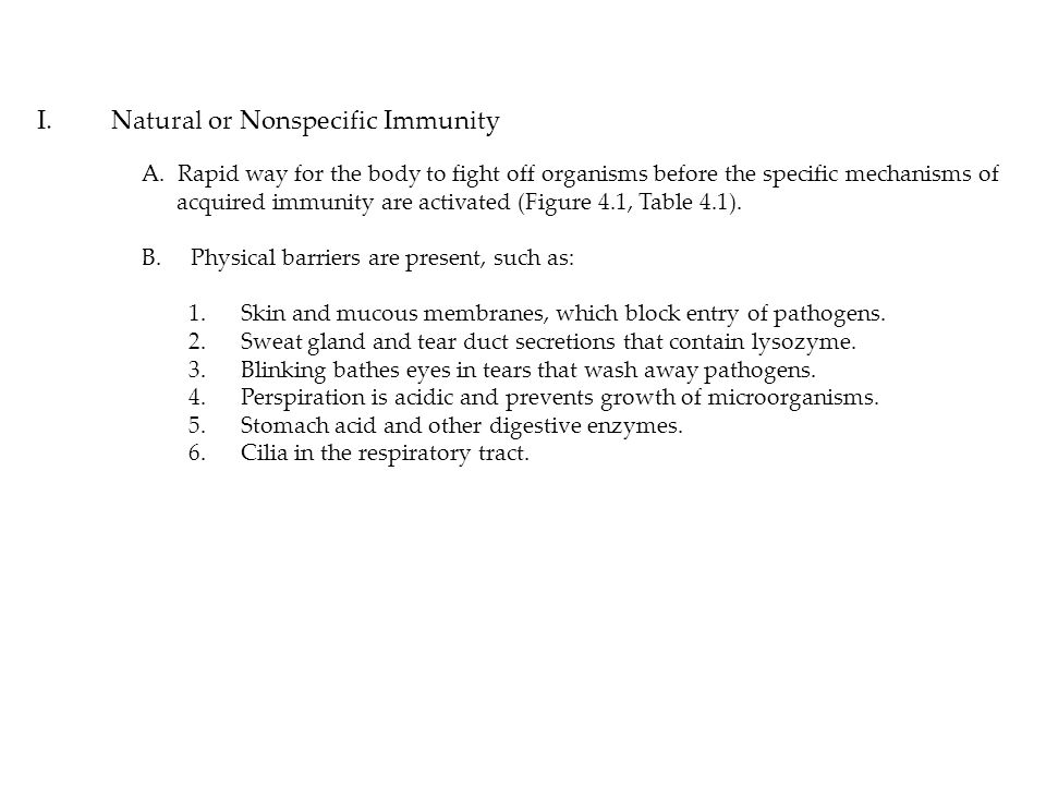 I. Natural or Nonspecific Immunity