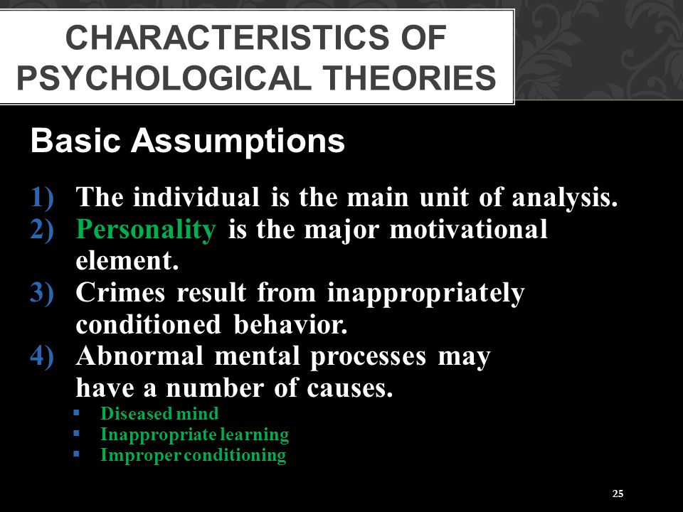 Characteristics of Psychological Theories