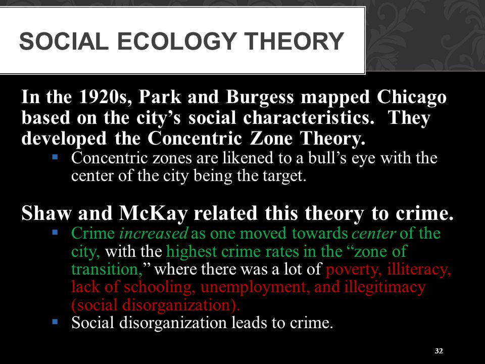 Social Ecology Theory Shaw and McKay related this theory to crime.