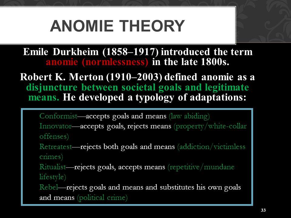 Anomie Theory Emile Durkheim (1858–1917) introduced the term