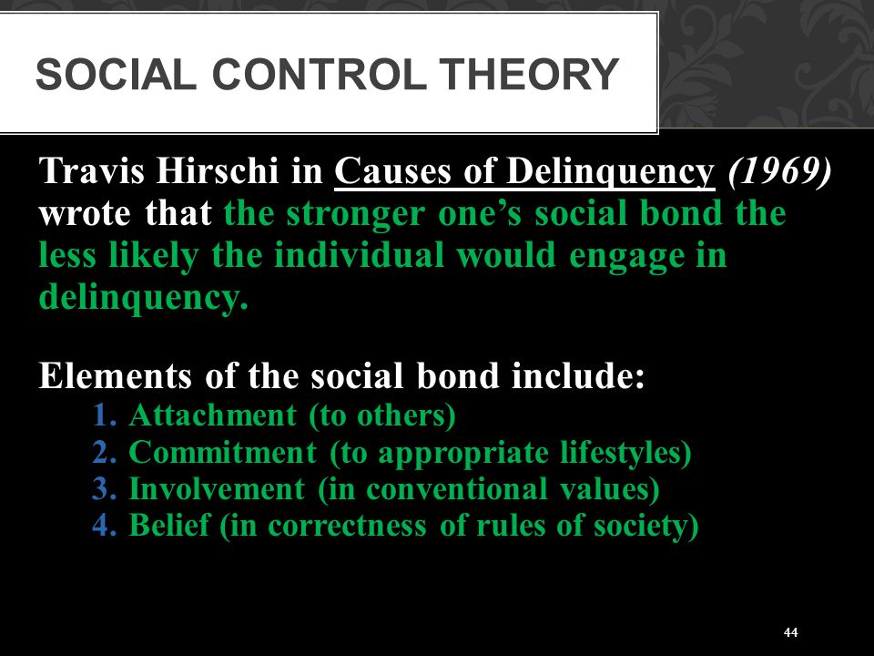 Social Control Theory Travis Hirschi in Causes of Delinquency (1969)