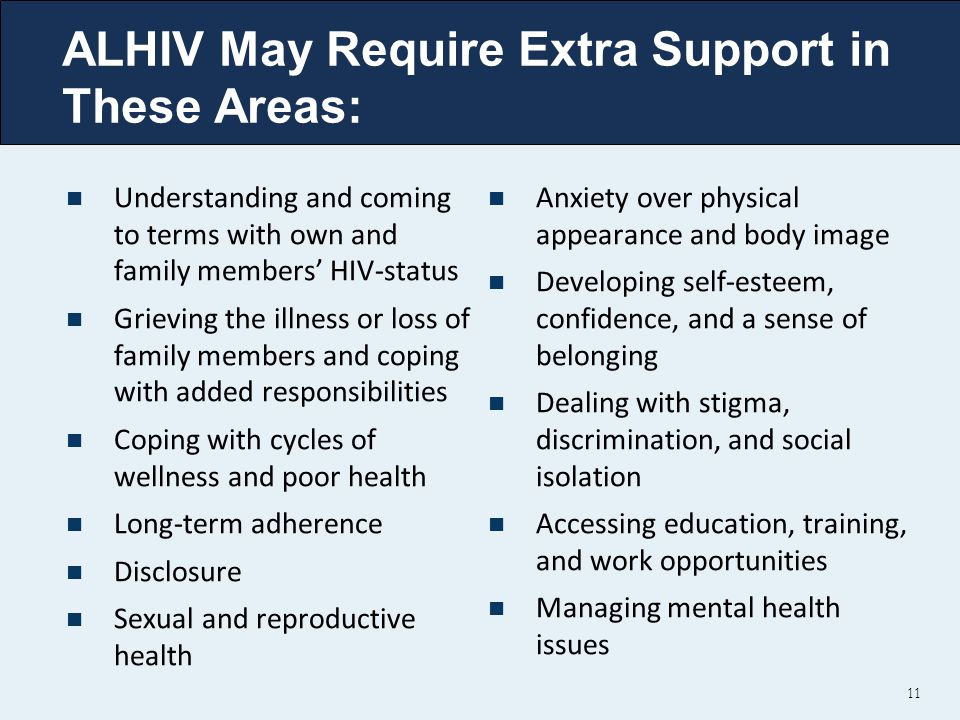 ALHIV May Require Extra Support in These Areas: