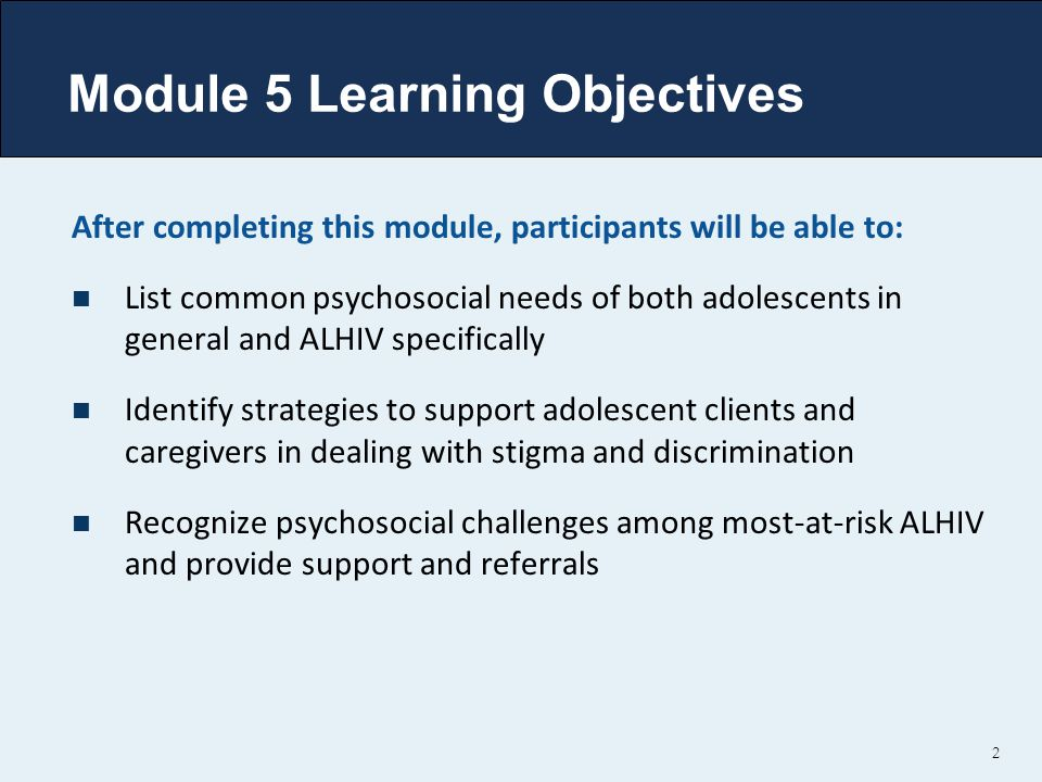 Module 5 Learning Objectives
