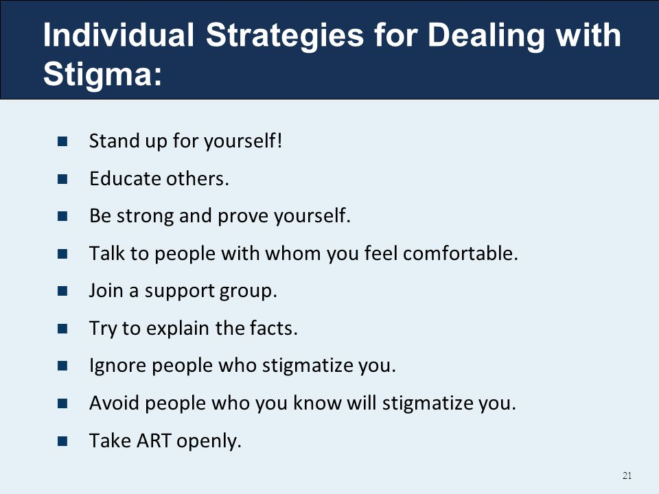 Individual Strategies for Dealing with Stigma: