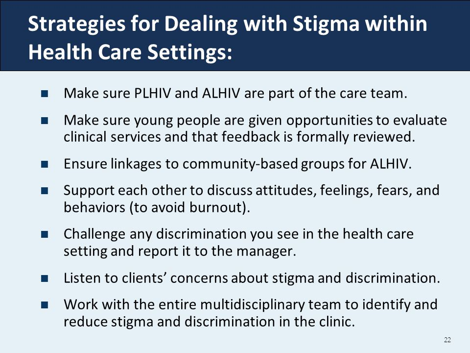 Strategies for Dealing with Stigma within Health Care Settings: