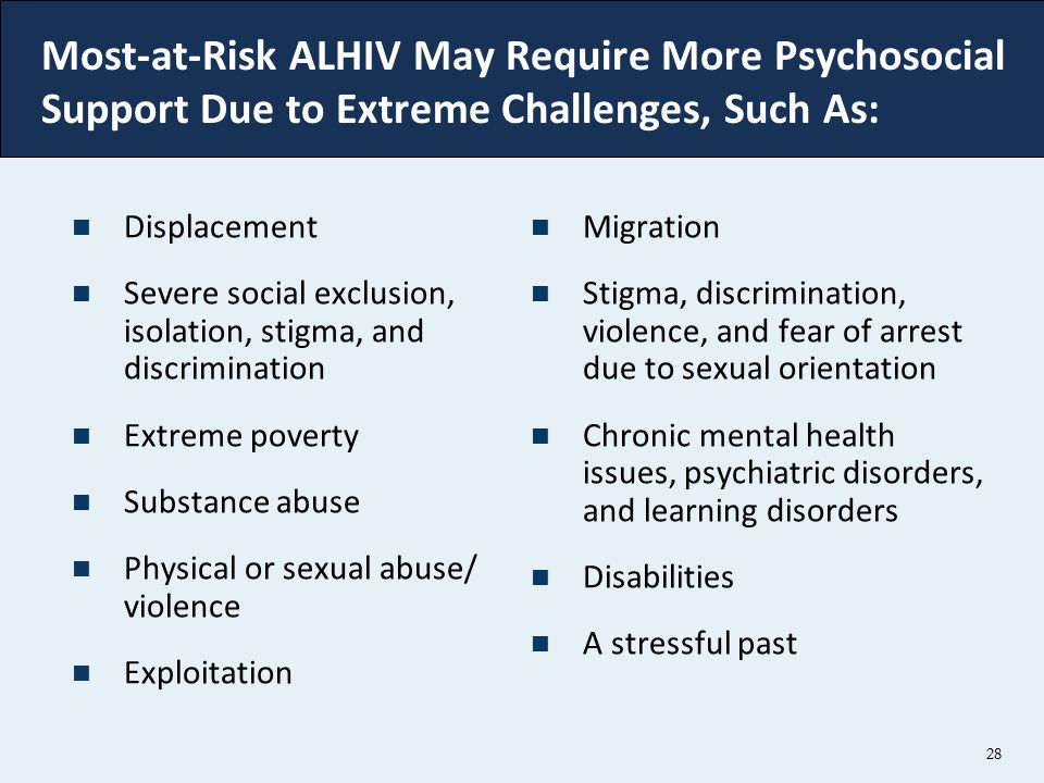 Most-at-Risk ALHIV May Require More Psychosocial Support Due to Extreme Challenges, Such As: