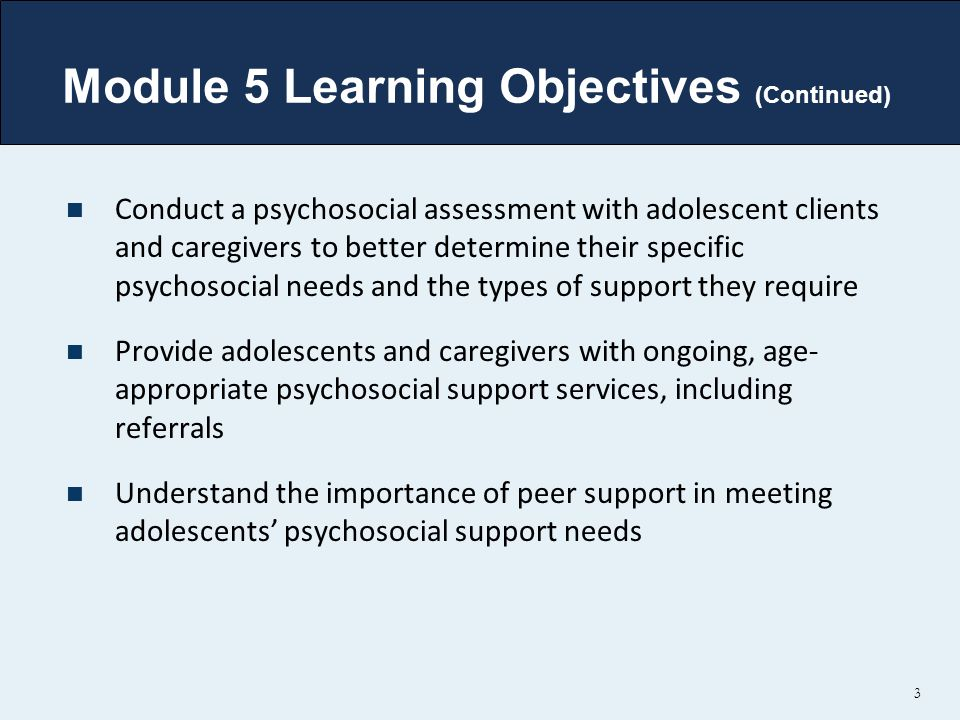 Module 5 Learning Objectives (Continued)