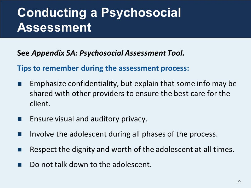 Conducting a Psychosocial Assessment