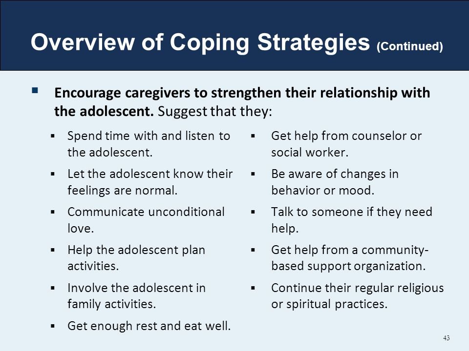 Overview of Coping Strategies (Continued)