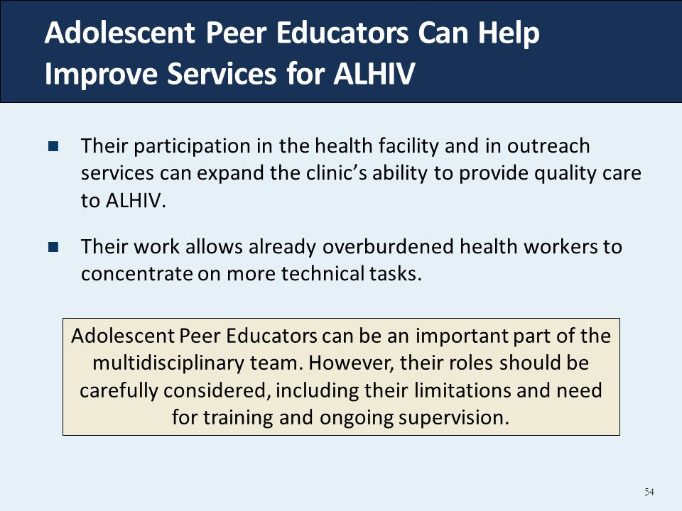 Adolescent Peer Educators Can Help Improve Services for ALHIV