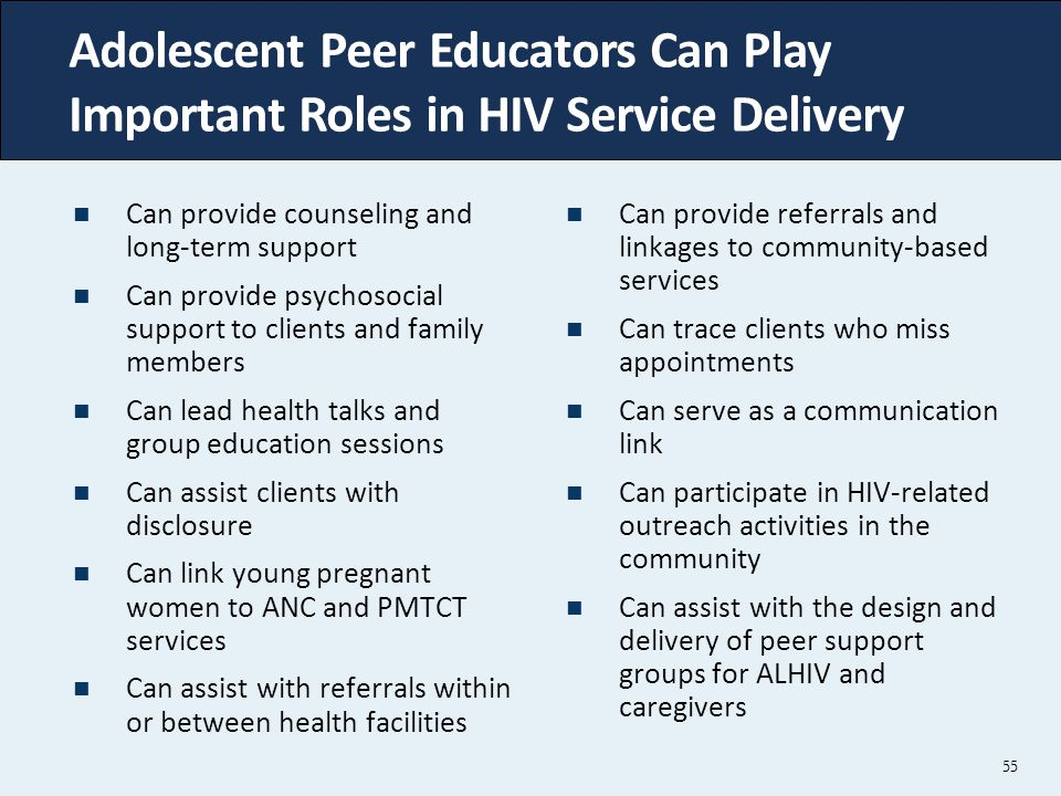 Adolescent Peer Educators Can Play Important Roles in HIV Service Delivery