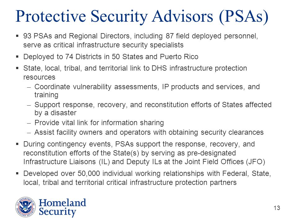 Protective Security Advisors (PSAs)