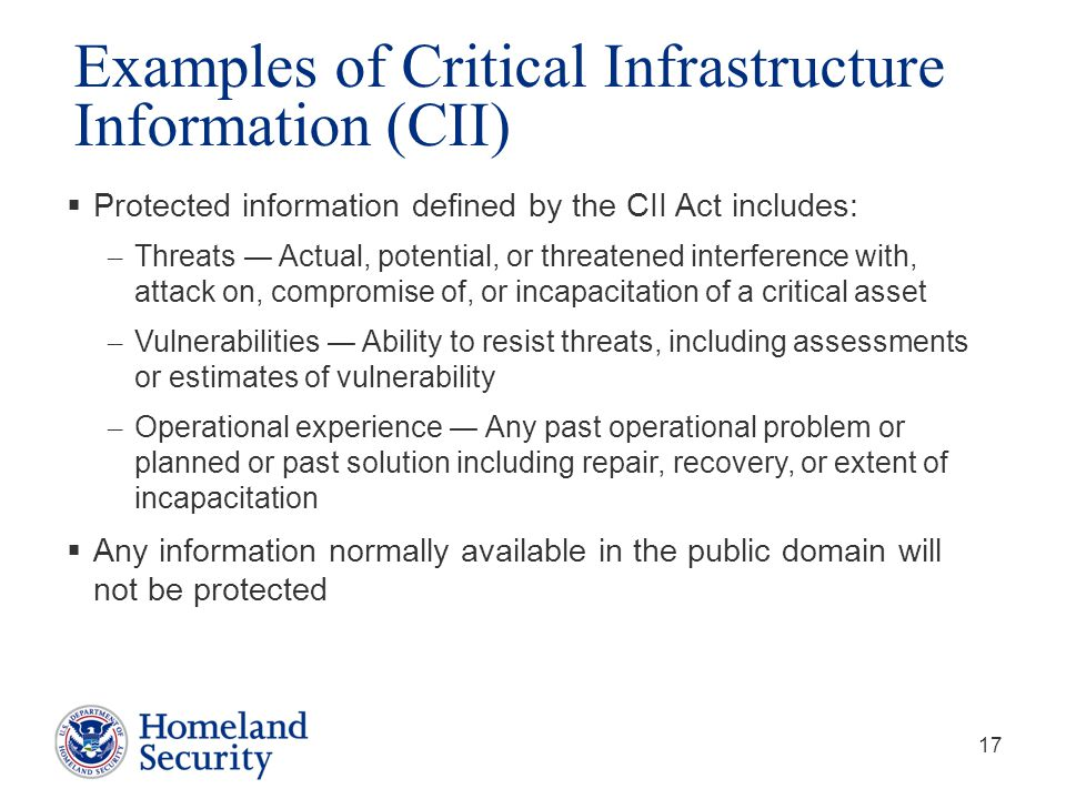 Examples of Critical Infrastructure Information (CII)