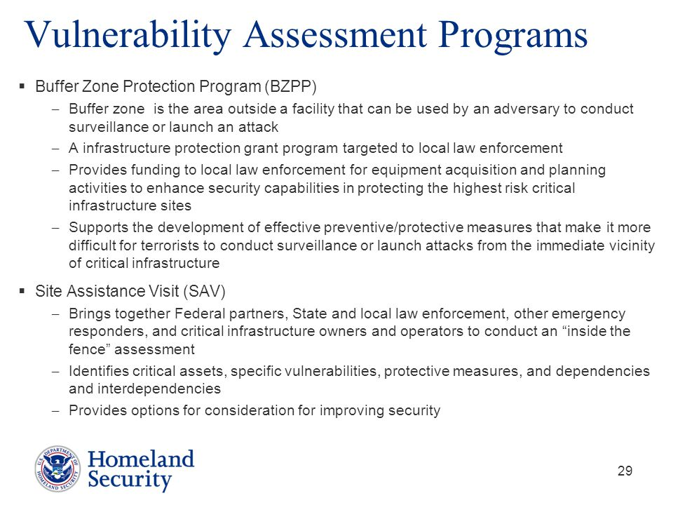 Vulnerability Assessment Programs