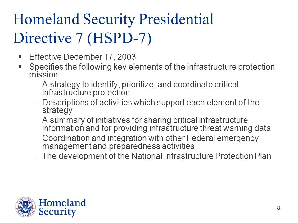 Homeland Security Presidential Directive 7 (HSPD-7)