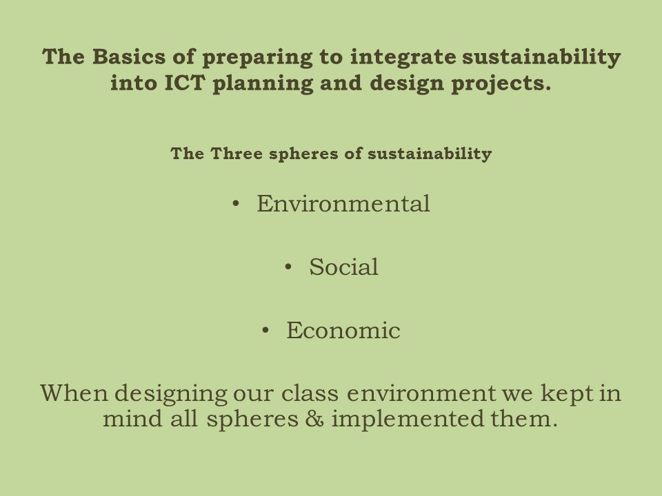 The Three spheres of sustainability