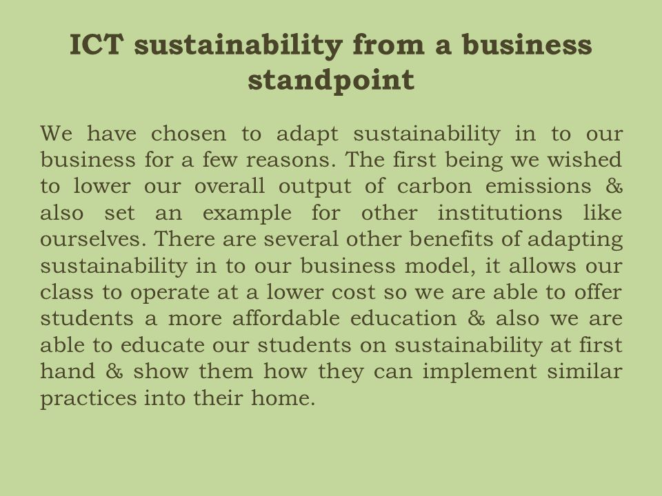 ICT sustainability from a business standpoint