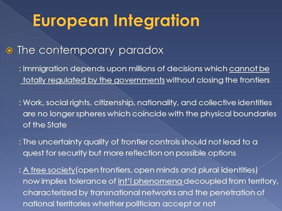European Integration The contemporary paradox