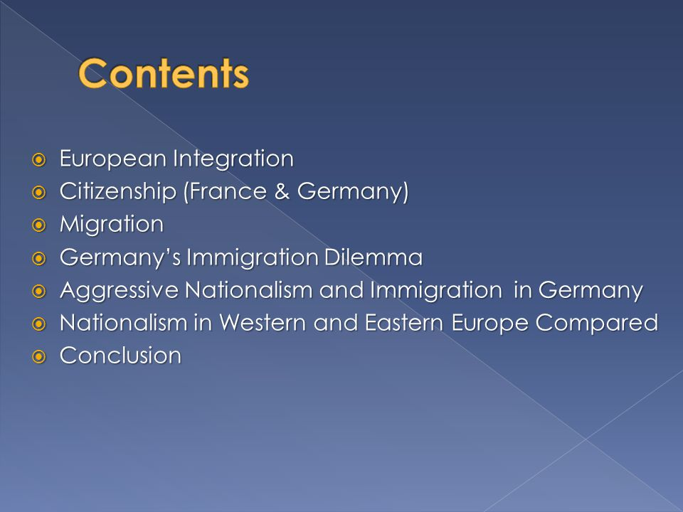 Contents European Integration Citizenship (France & Germany) Migration