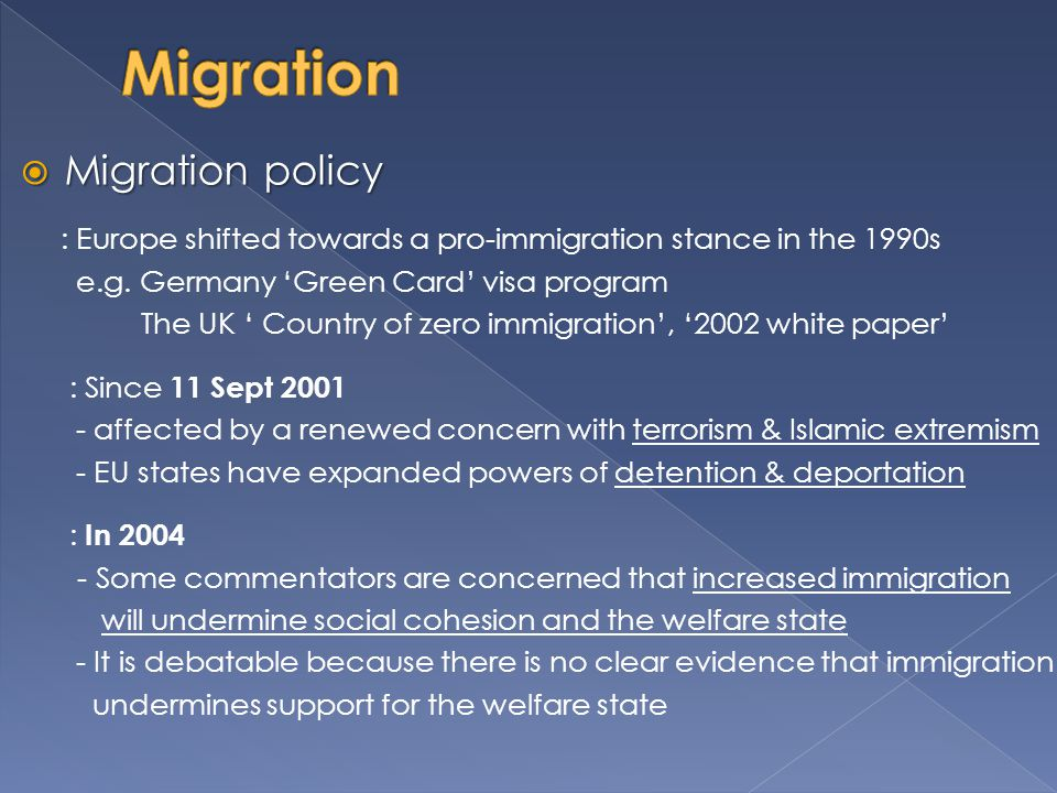 Migration Migration policy