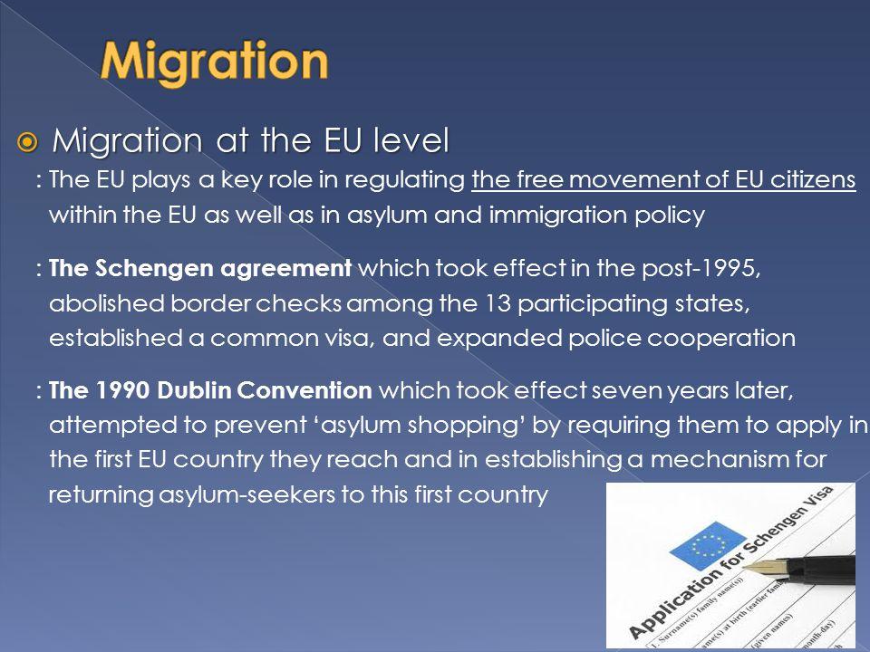 Migration Migration at the EU level