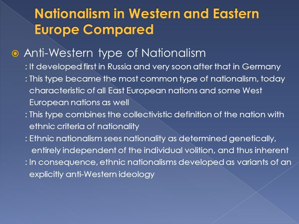 Nationalism in Western and Eastern Europe Compared