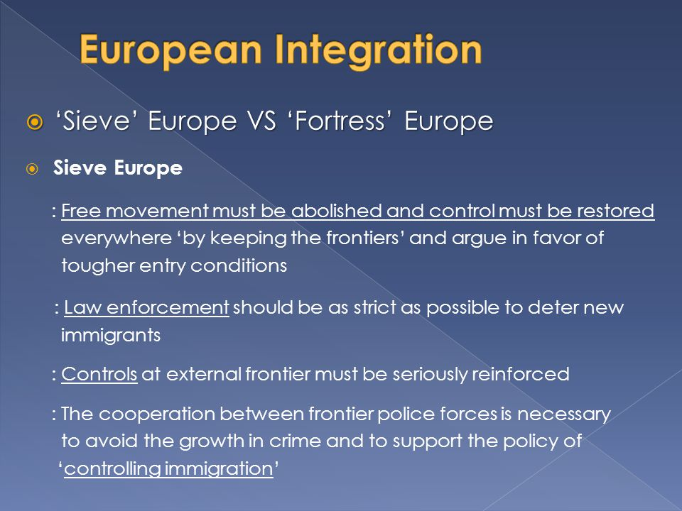 European Integration 'Sieve' Europe VS 'Fortress' Europe Sieve Europe