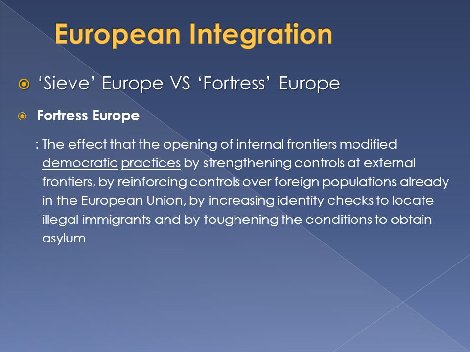 European Integration 'Sieve' Europe VS 'Fortress' Europe
