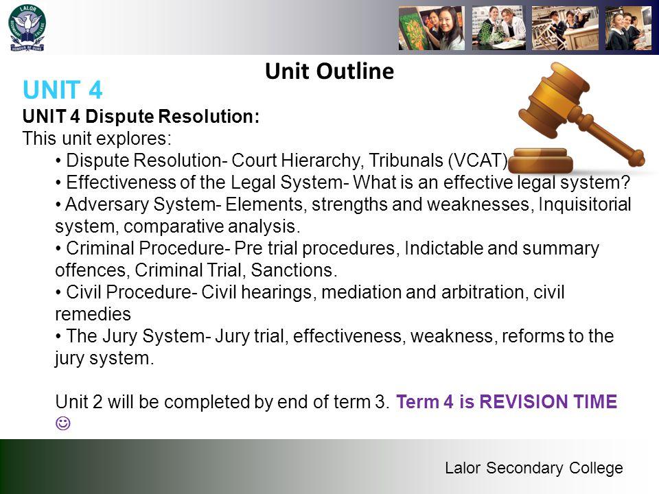 Unit Outline UNIT 4 UNIT 4 Dispute Resolution: This unit explores: