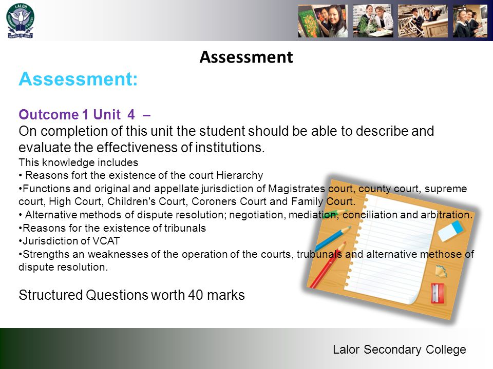 Assessment Assessment: Outcome 1 Unit 4 –