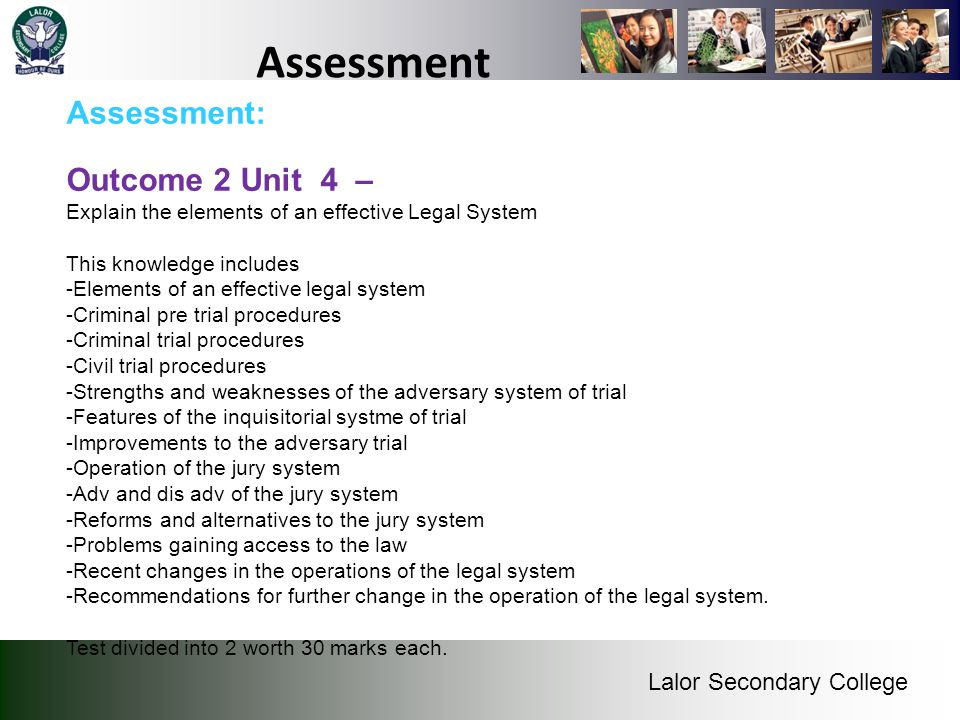 Assessment Assessment: Outcome 2 Unit 4 –