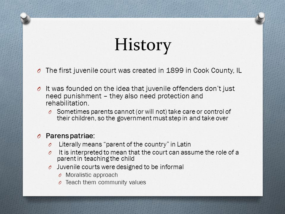 History The first juvenile court was created in 1899 in Cook County, IL.
