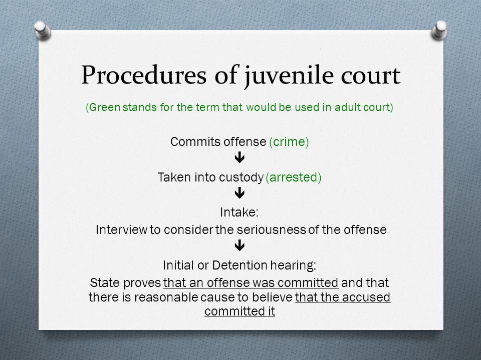 Procedures of juvenile court