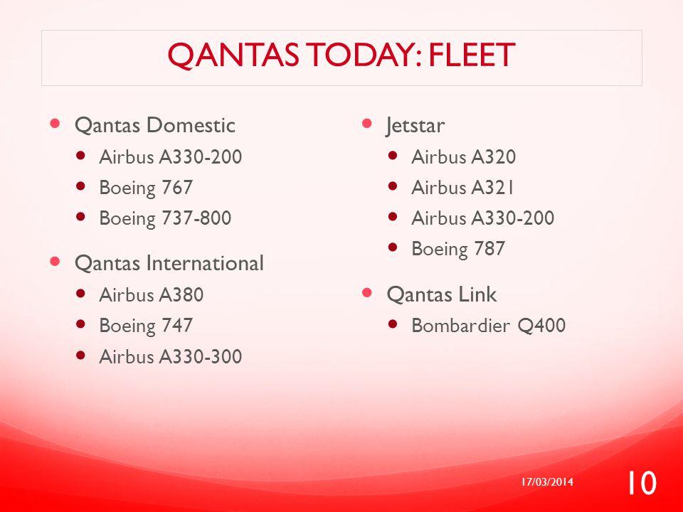 Qantas today: fleet Qantas Domestic Qantas International Jetstar