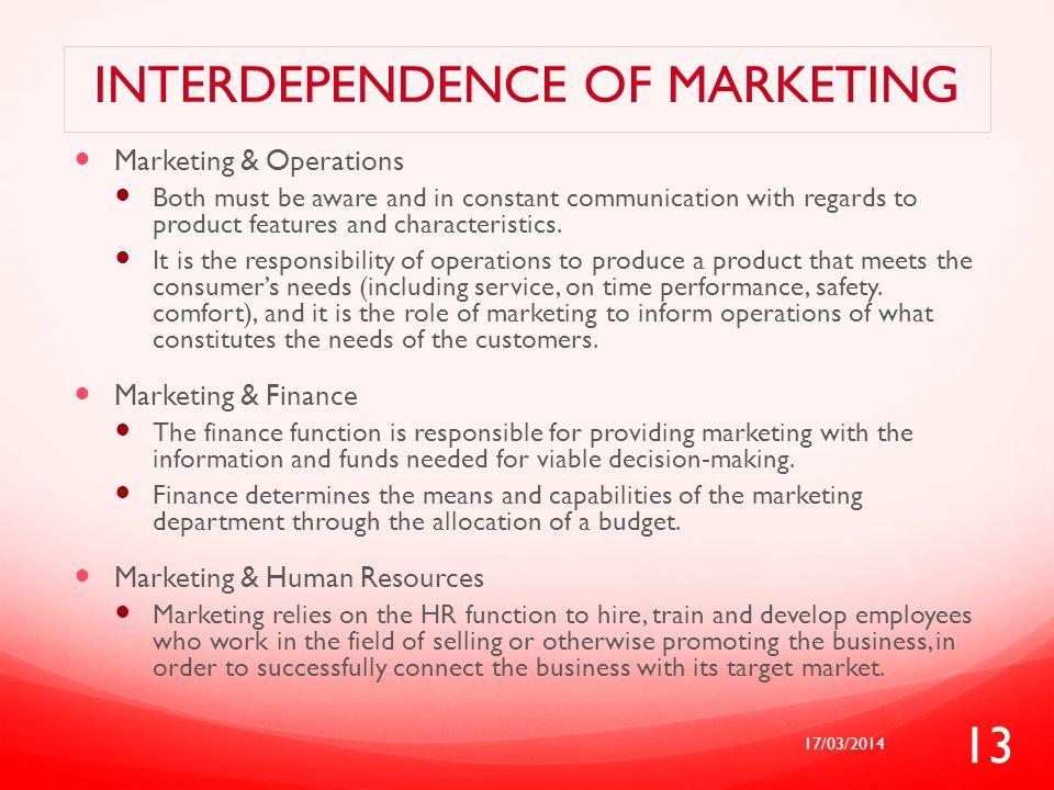 Interdependence of marketing