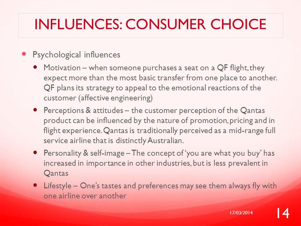 Influences: CONSUMER CHOICE