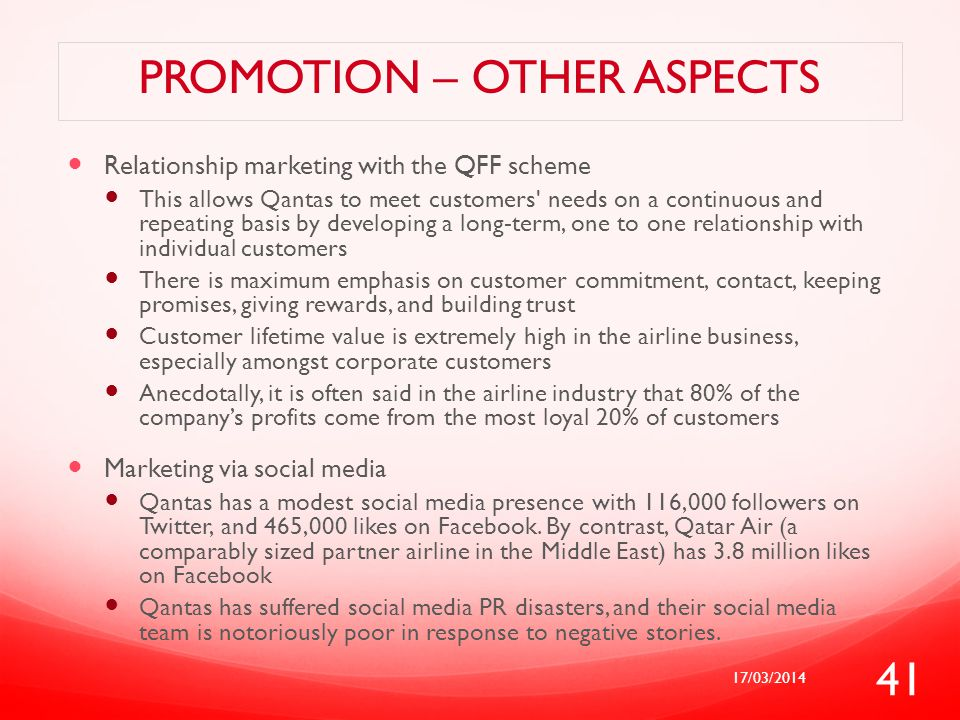 Promotion – other aspects