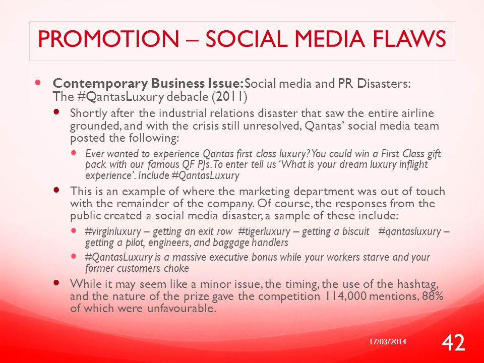 Promotion – social media flaws
