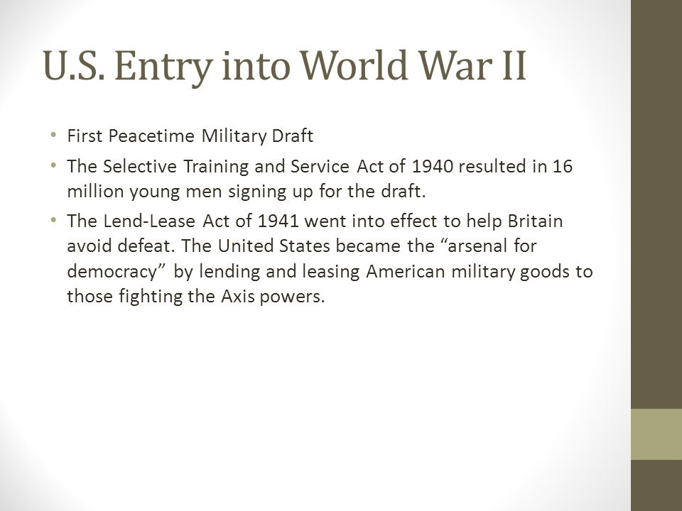 U.S. Entry into World War II