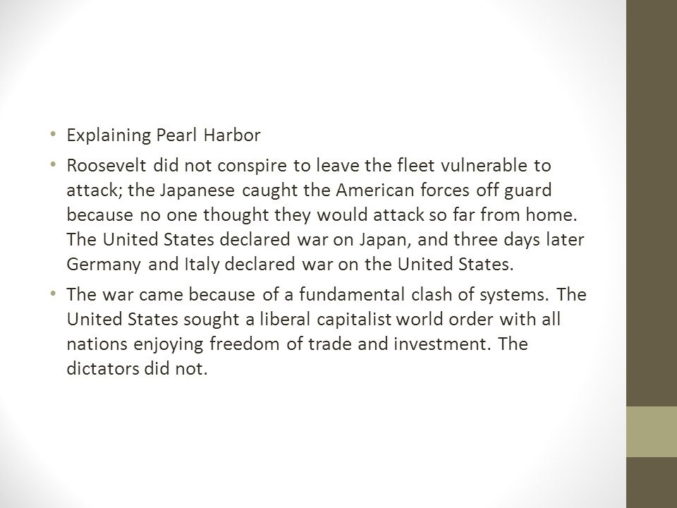 Explaining Pearl Harbor