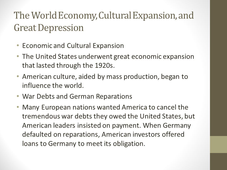 The World Economy, Cultural Expansion, and Great Depression