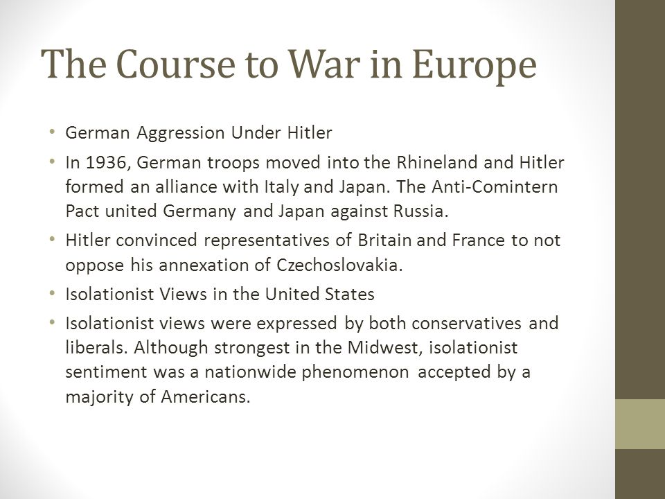 The Course to War in Europe