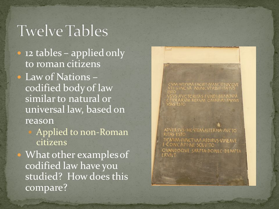 Twelve Tables 12 tables – applied only to roman citizens
