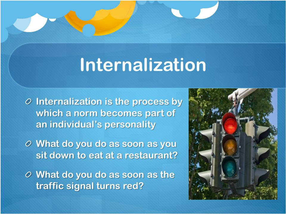 Internalization Internalization is the process by which a norm becomes part of an individual's personality.