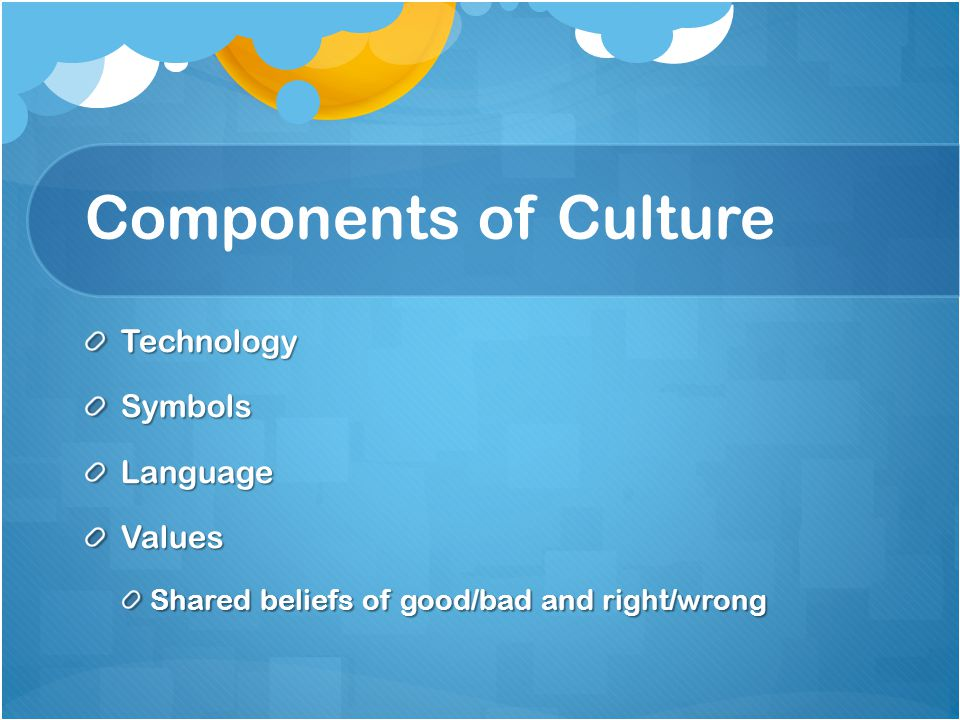 Components of Culture Technology Symbols Language Values