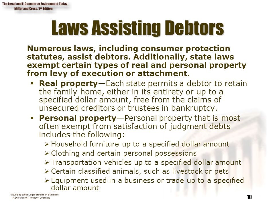 Laws Assisting Debtors